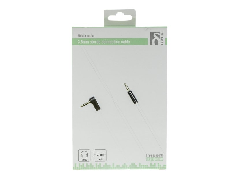 Deltaco AUDIO 3.5MM MALE - 3.5MM MALE ANGLED 3,5 mm-ministereojakk Hann 3,5 mm-ministereojakk Hann 0.5m
