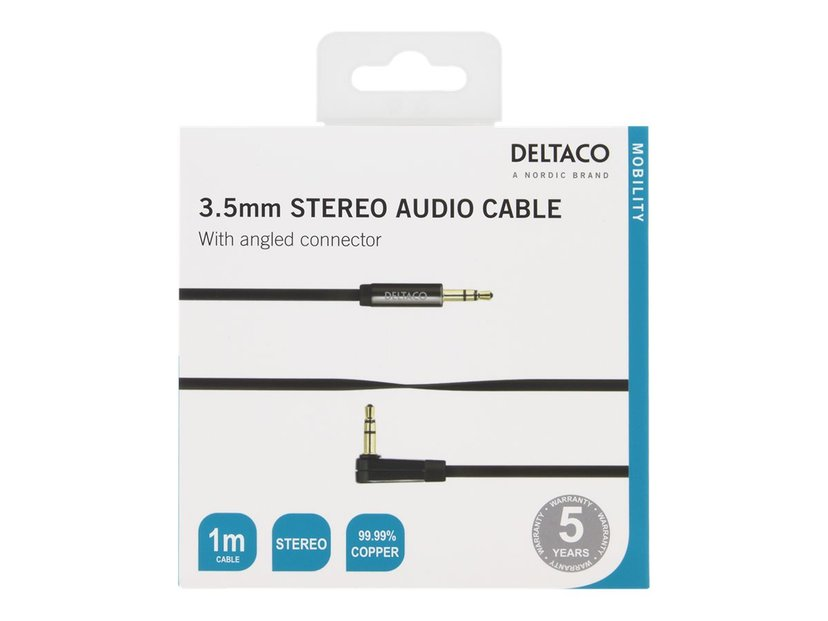 Deltaco AUDIO 3.5MM MALE - 3.5MM MALE ANGLED 1m 3,5 mm-ministereojakk Hann 3,5 mm-ministereojakk Hann