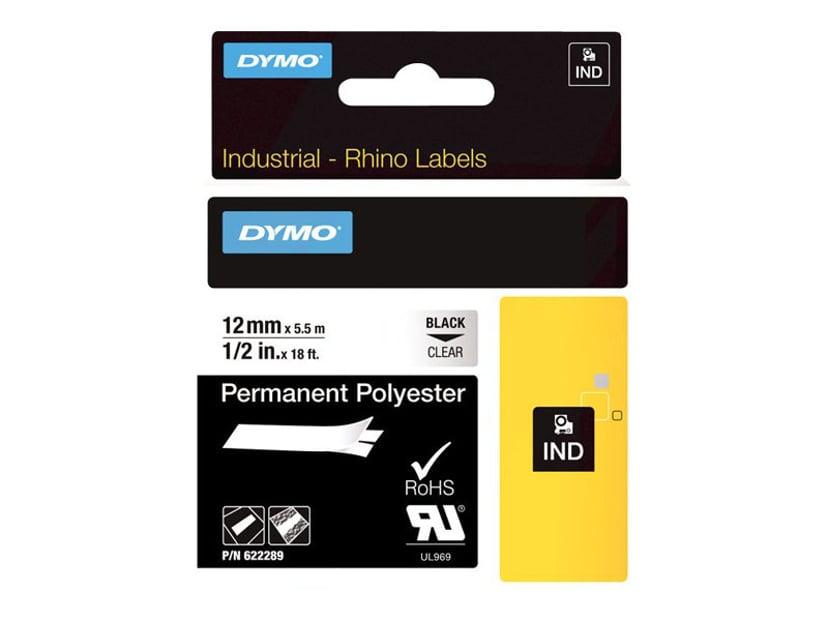 Dymo Tape RhinoPRO Perm Polyester 12mm Svart/Transparent