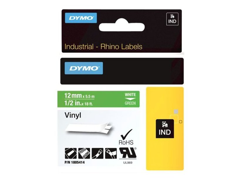 Dymo Tape RhinoPRO Perm Vinyl 12mm Hvit/Grön