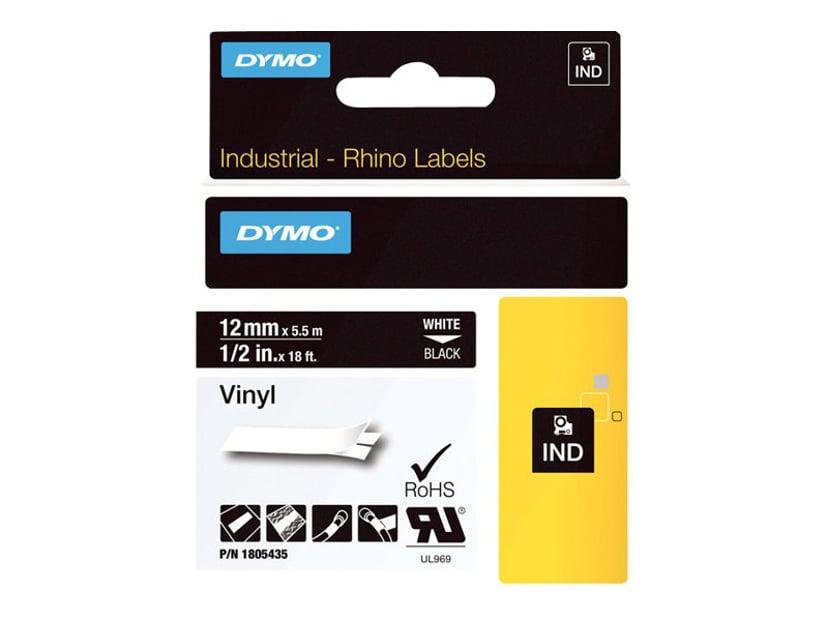 Dymo Tape RhinoPRO Perm Vinyl 12mm Hvit/Svart