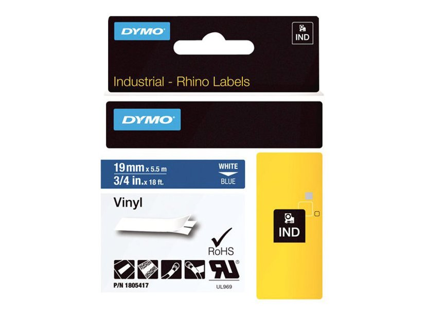 Dymo Tape RhinoPRO Perm Vinyl 19mm Vit/Blå