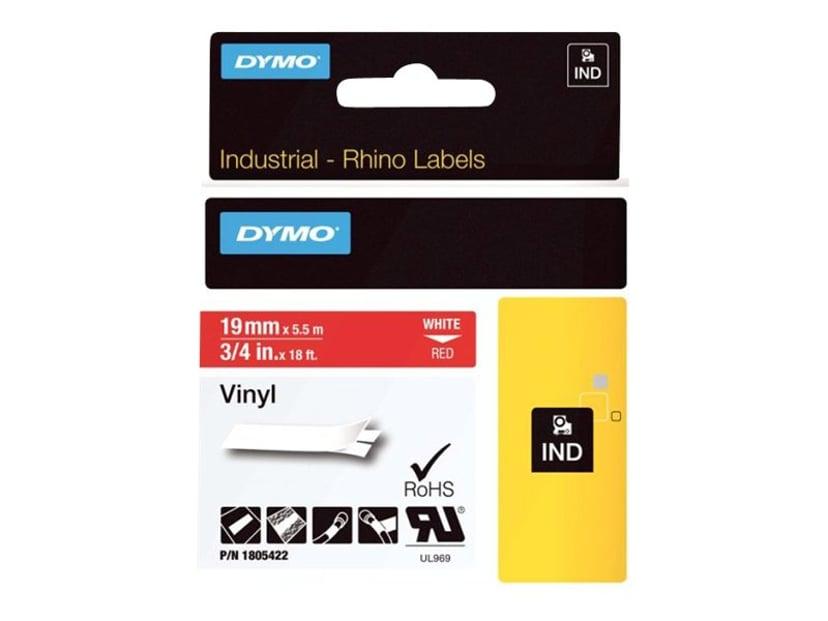 Dymo Tape RhinoPRO Perm Vinyl 19mm Hvid/Röd