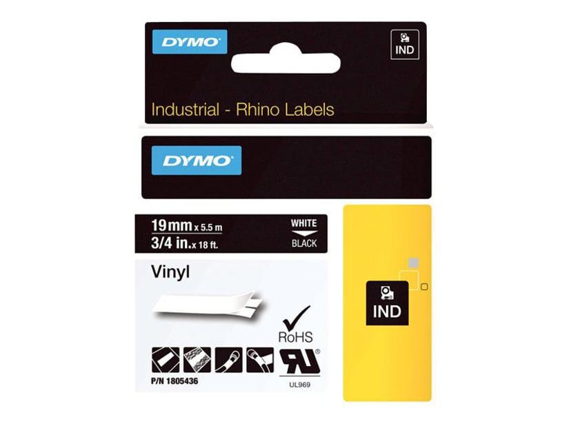Dymo Tape RhinoPRO Perm Vinyl 19mm Vit/Svart