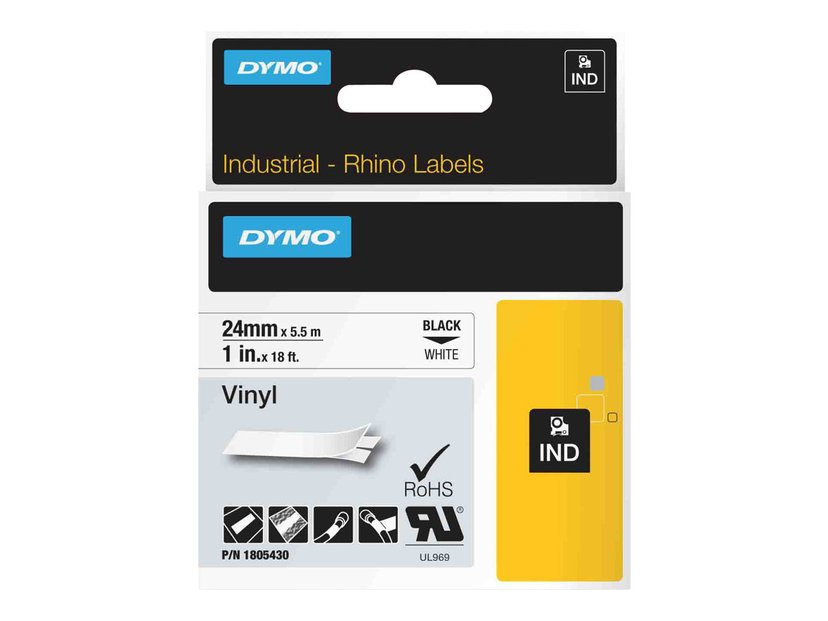 Dymo Tape RhinoPRO Perm Vinyl 24mm Svart/Vit