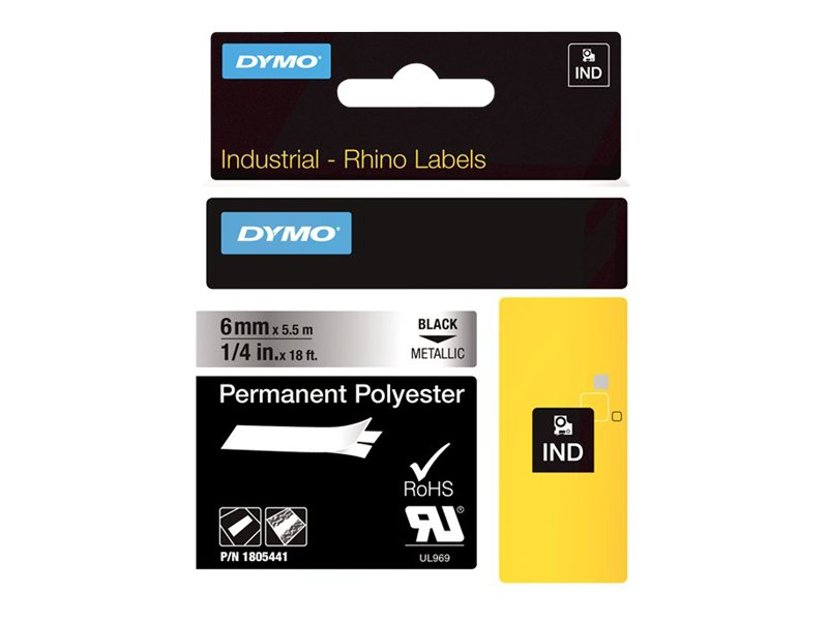 Dymo Tape RhinoPRO Perm Polyester 6mm Svart/Metallic