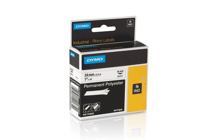 Dymo Tape RhinoPRO Perm Polyester 24mm Svart/Hvit