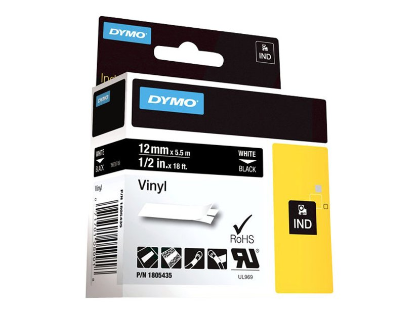 Dymo Tape RhinoPRO Perm Vinyl 12mm Vit/Svart