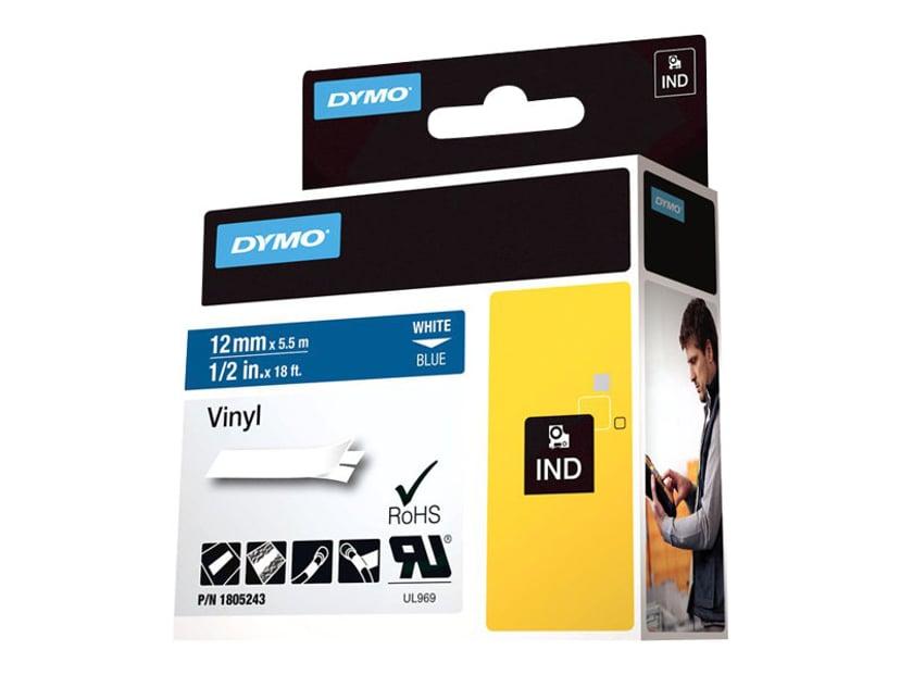 Dymo Tape RhinoPRO Perm Vinyl 12mm Vit/Blå