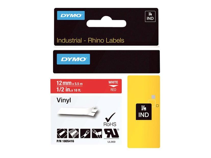 Dymo Tape RhinoPRO Perm Vinyl 12mm Hvit/Röd