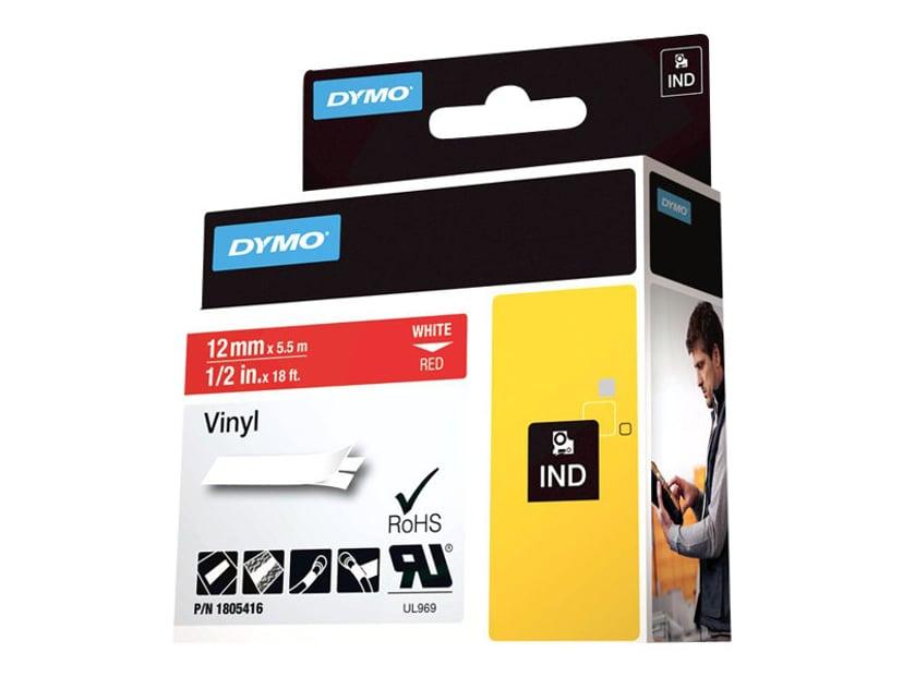 Dymo Tape RhinoPRO Perm Vinyl 12mm Vit/Röd