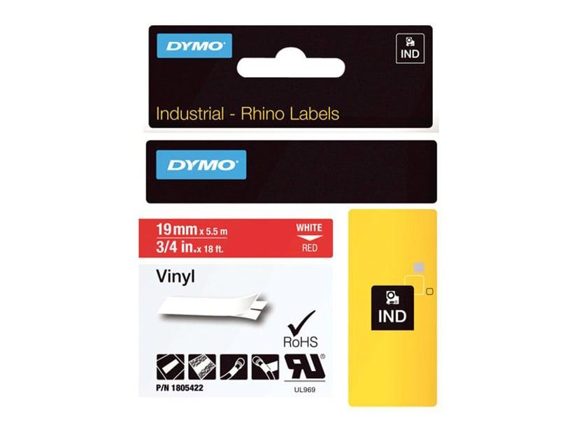 Dymo Tape RhinoPRO Perm Vinyl 19mm Vit/Röd