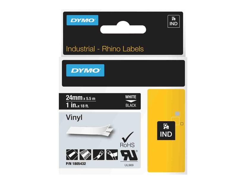 Dymo Tape RhinoPRO Perm Vinyl 24mm Hvit/Svart
