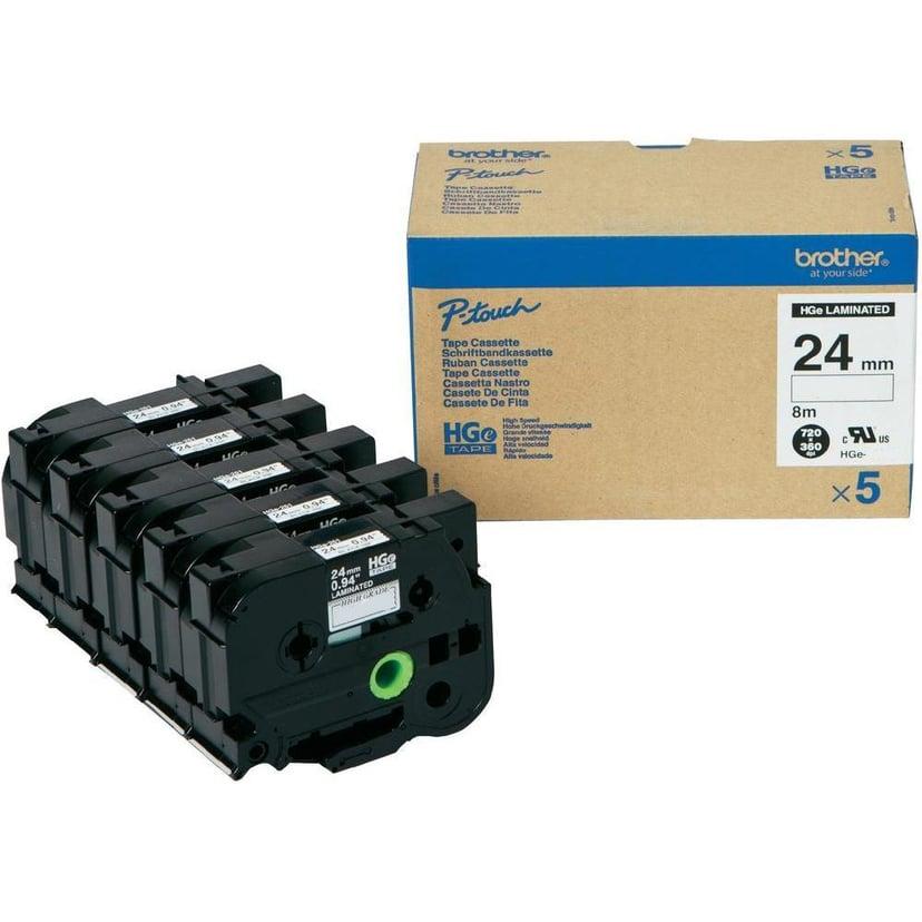 Brother Tape HGEM951V5 24mm Svart/Silver 5-Pack