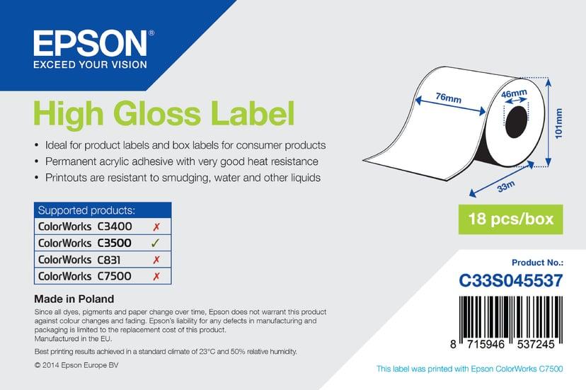 Epson Etiketter High-gloss Löpande 76mm x 33m - TM-C3500