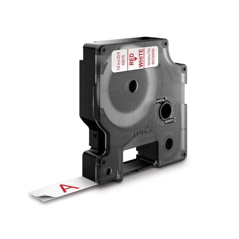 Dymo Tape D1 12mm Röd/Transparent Botten