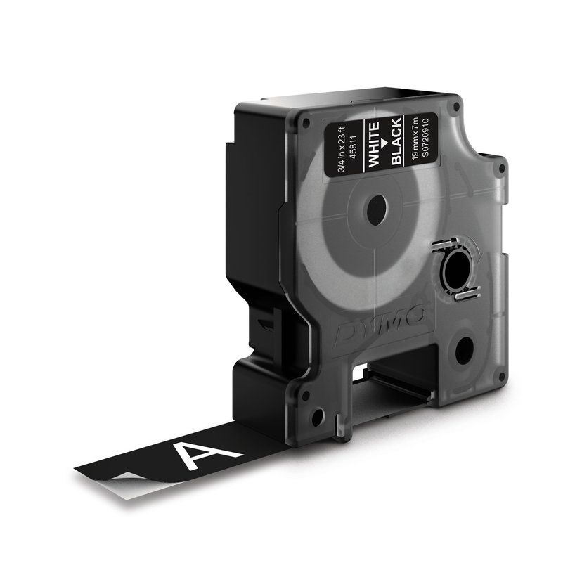 Dymo Tape D1 19mm Vit/Svart Botten