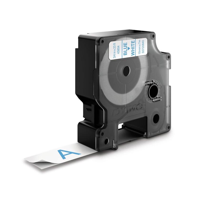 Dymo Tape D1 19mm Blue/White Bottom