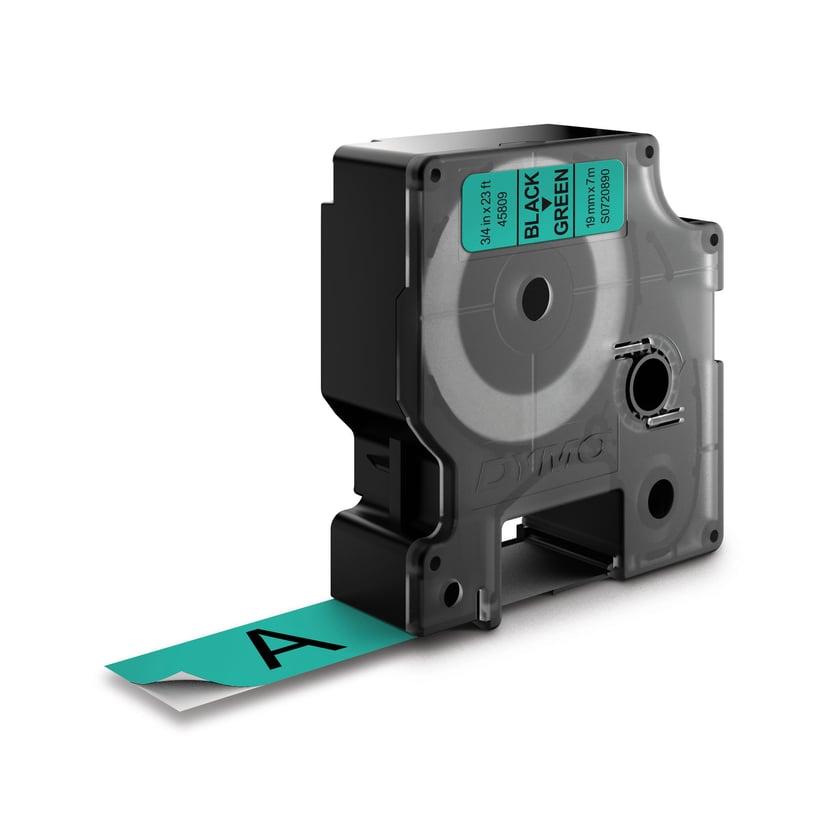 Dymo Tape D1 19mm Black/Green Bottom