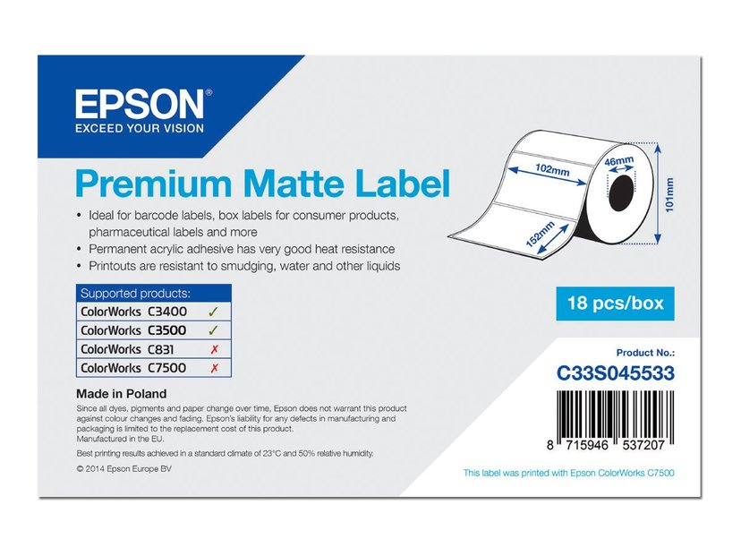 Epson Etiketter Premium Matt 102 x 152mm - TM-C3400/C3500